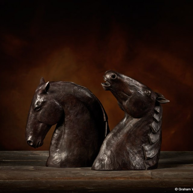 Kelpies, brown patina