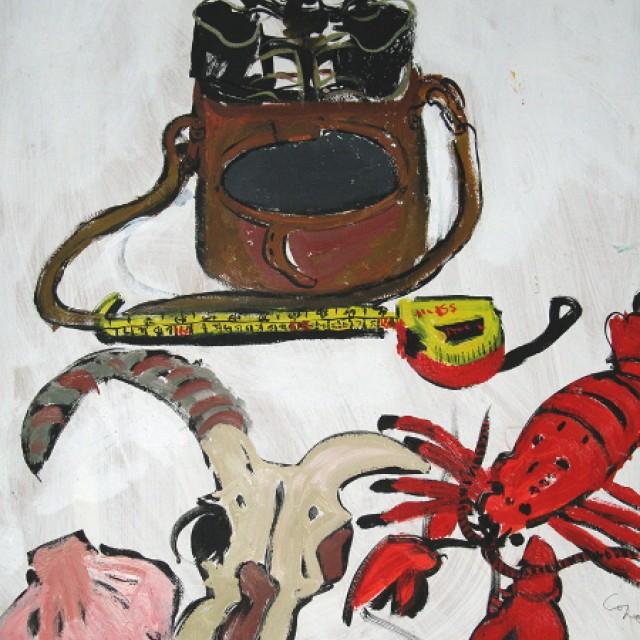 Binoculars Sheeps Skull and Lobster