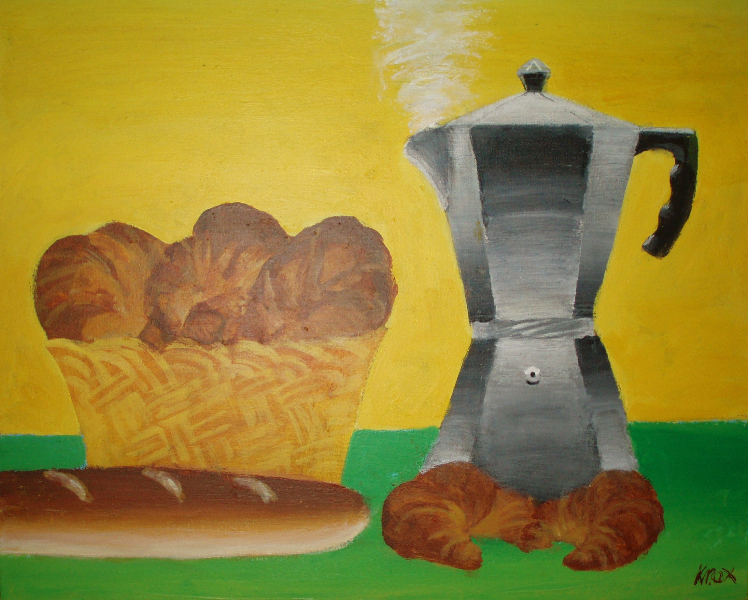 Coffee and Croissants Still Life