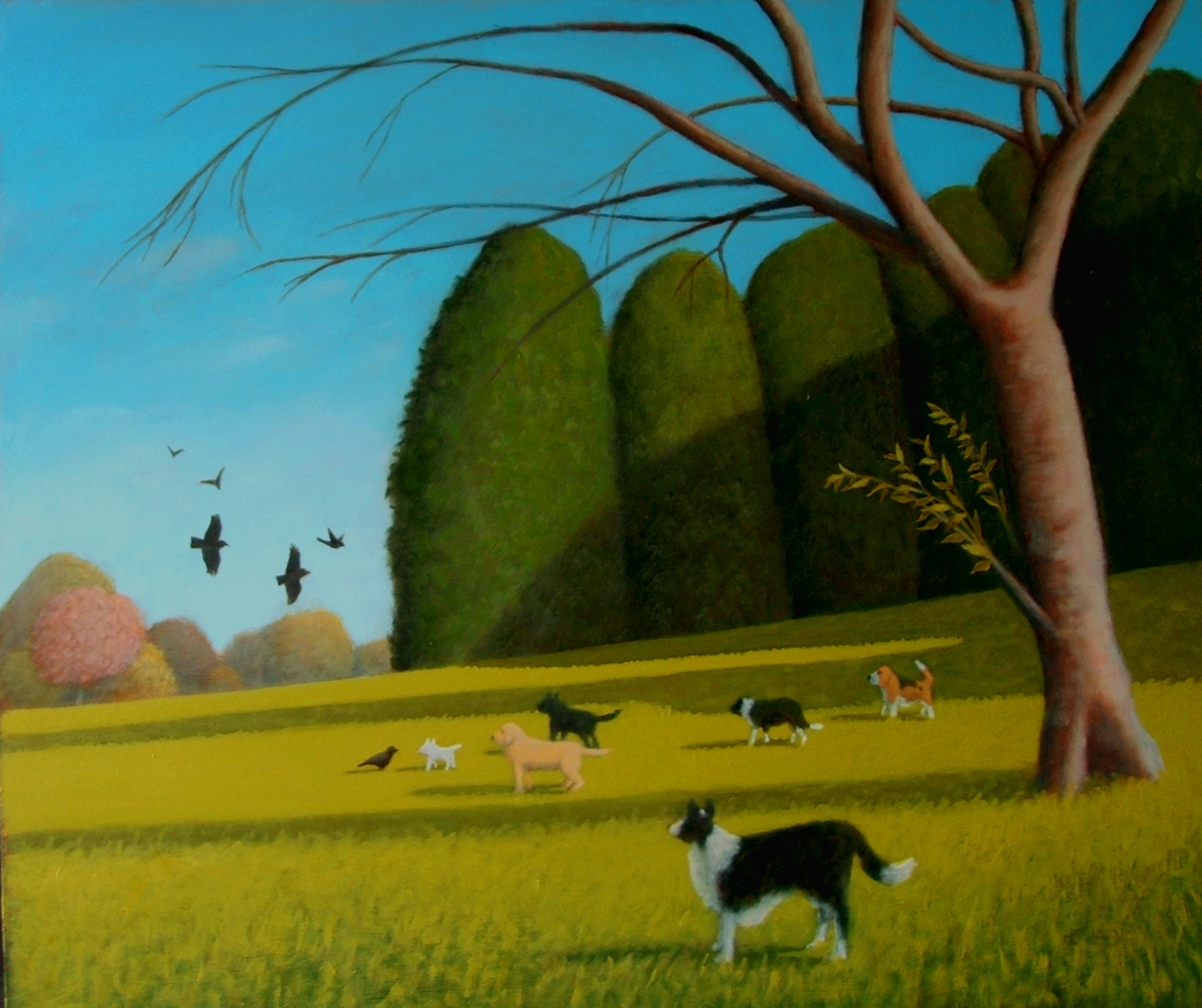 birds-and-dogs-oil-20x24-inches