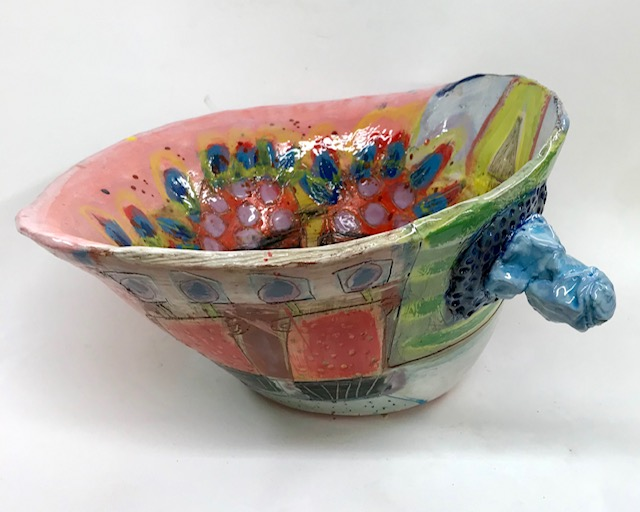 Big bowl with baby-blue handle and wide rim interior with a still life of Cornish flowers