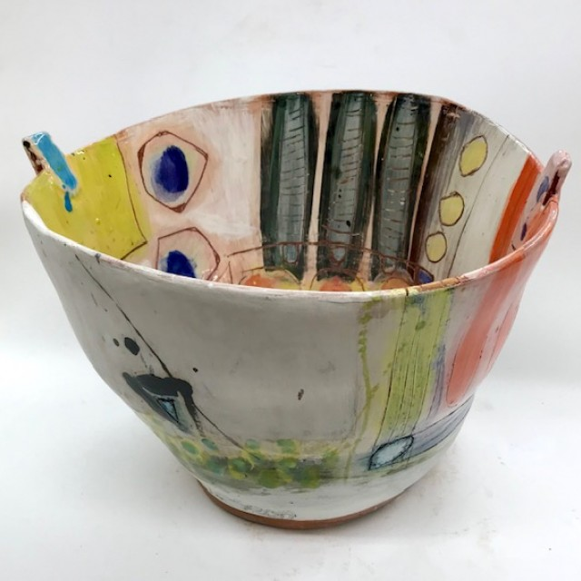 Lugged pot with modernist form and surface shapes