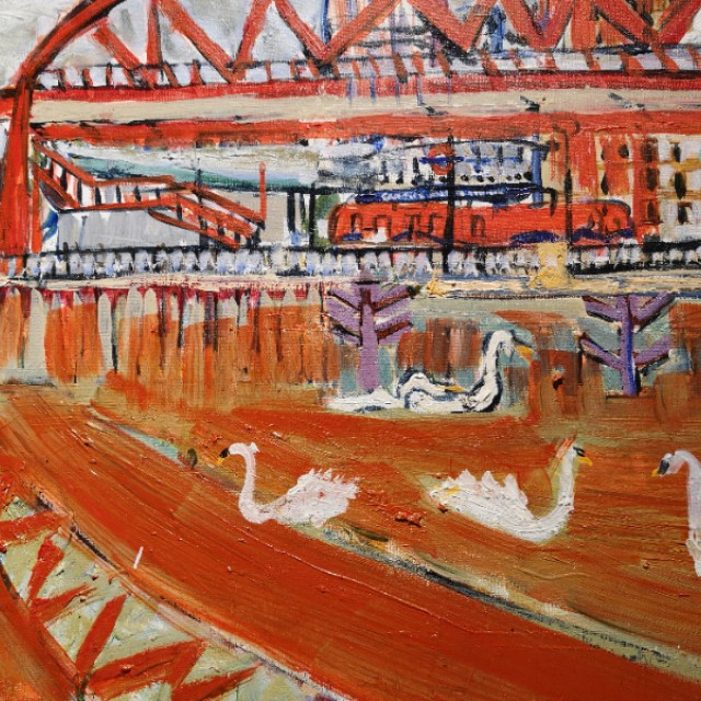 Swans under red foot bridge, Canning Town Station