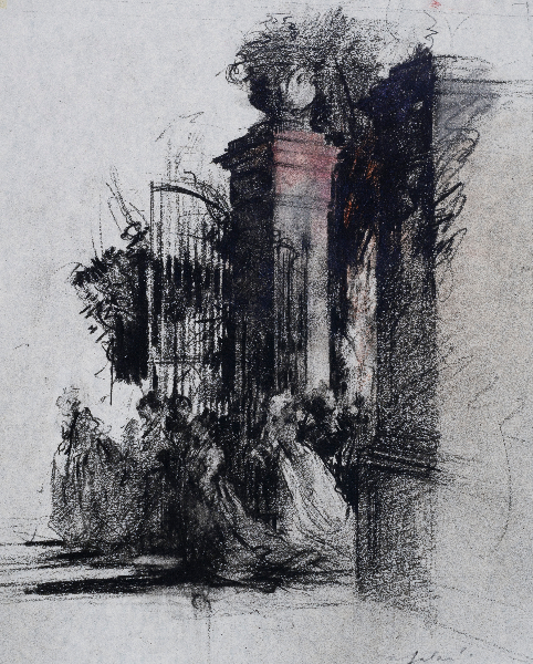 The Gate Preparatory Drawing for Swan Lake Act 3