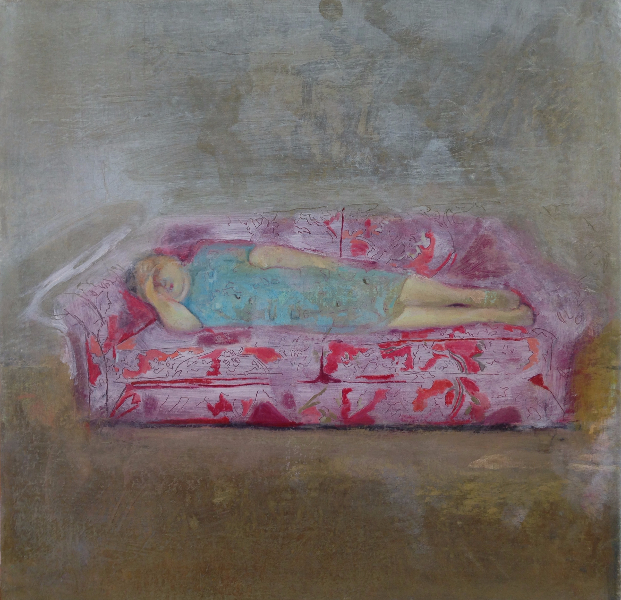 Woman on the Red Sofa