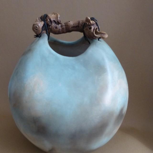 Blue Sea handbuilt pot with driftwood