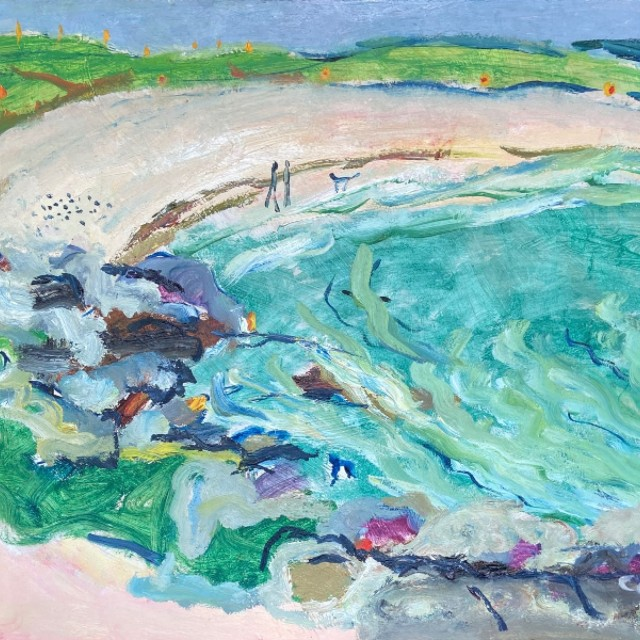 Beach rocks and green sea, coule with dogs, 2002