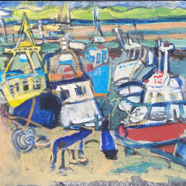 Boats in harbour with dog, Killala, 2010