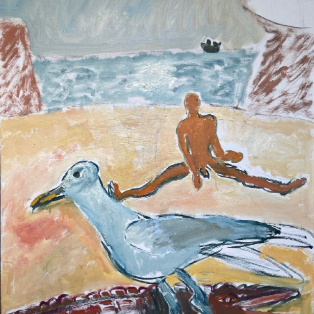 Dunmore East with Nude, seagull and crocodile, 2014