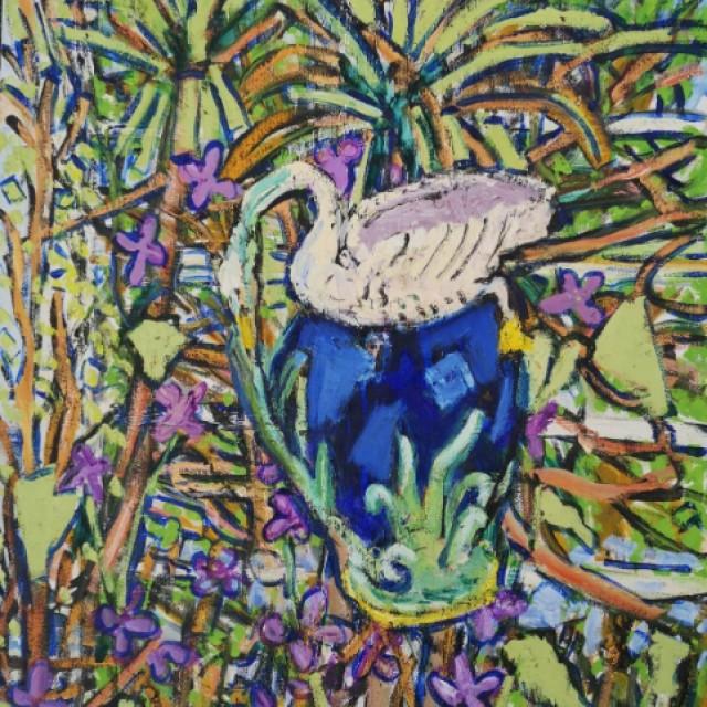 Swan vase amongst bluebells