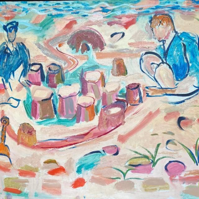 Phoebe and Reuben making sandcastles, 1998