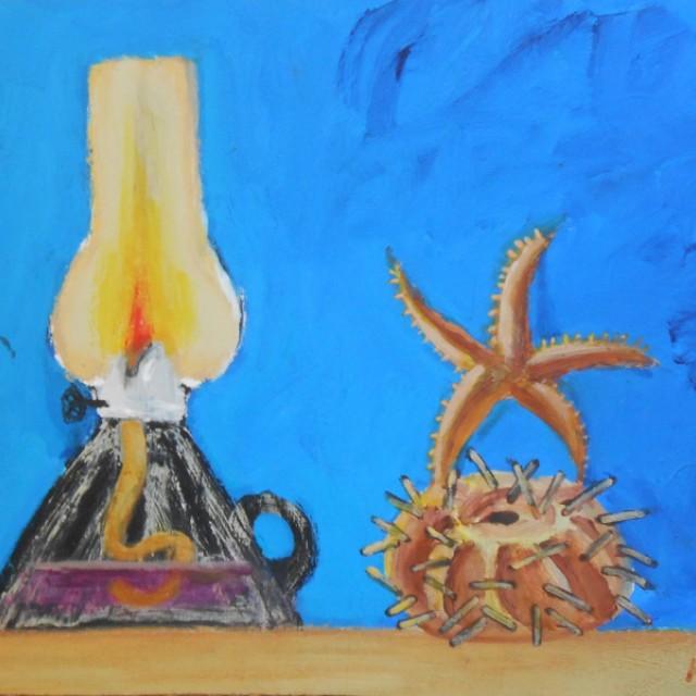 Lamp, starfish & sea urchin still life