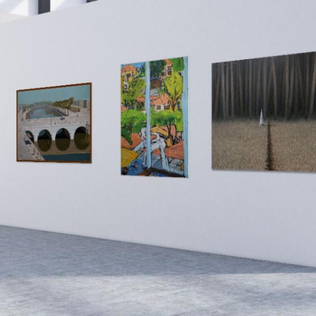 Anna Geerdes, Border Post & Elizabeth Cope, Sao Paolo view from my studio & Peter Thomson, White Bridge & Adrian Wiszniewski, Postcard from Japan & Marian Leven, Sea Cloud & Sea Marks in situ