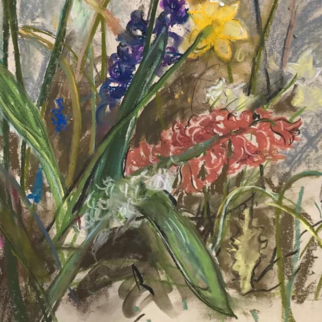 Gypsy Queen hyacinth and daffodils
