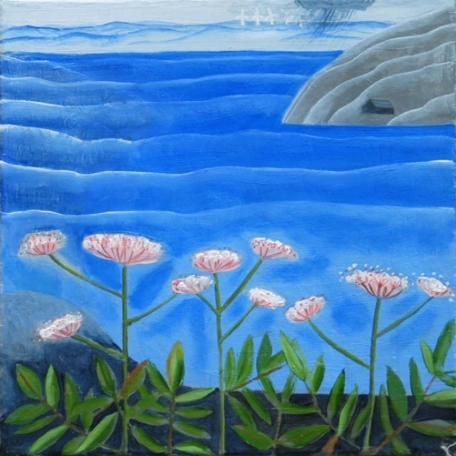 Blue Landscpae with pink flowers