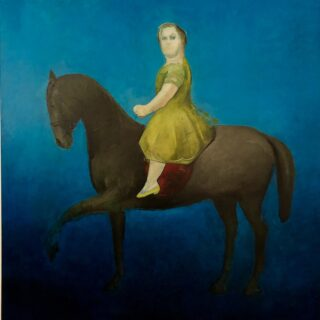 Female figure on a horse against a blue backdrop