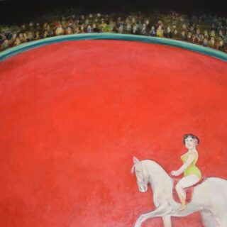 Circus scene with figure on a white horse